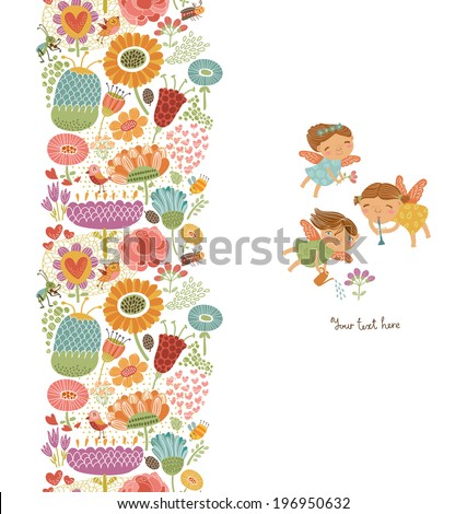 Floral seamless pattern with cute fairies