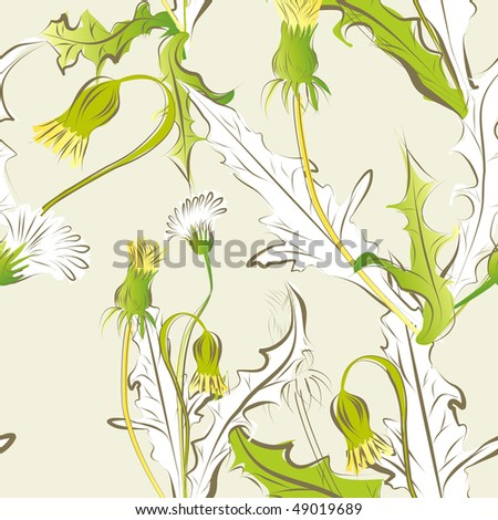 floral seamless pattern with dandelion flowers - stock vector