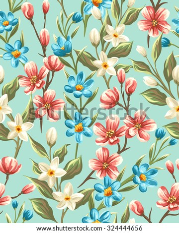 Floral seamless pattern with flowers and leaves on blue background in watercolor style - stock vector