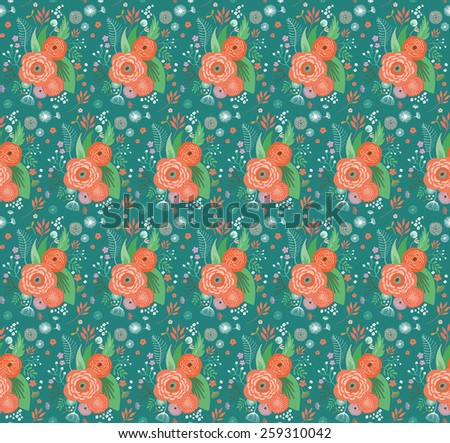 Floral seamless pattern with flowers, leaves, plants - stock vector
