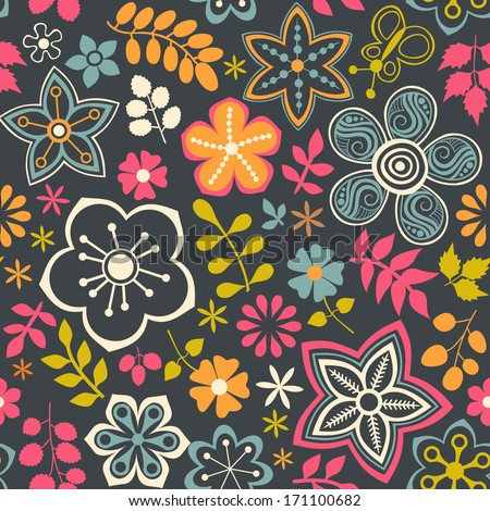 Floral seamless pattern with flowers. Vector blooming doodle floral texture. Decoration with detailed flower. - stock vector