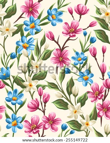 Floral seamless pattern with gentle spring pink, beige and blue flowers