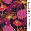 Floral seamless pattern with hand drawn flowers. - stock photo