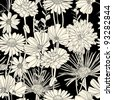 Floral seamless pattern with hand drawn flowers. Black and white - stock photo
