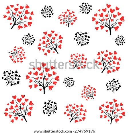 Floral seamless pattern with heart tree, design for wedding or valentine's day - stock vector