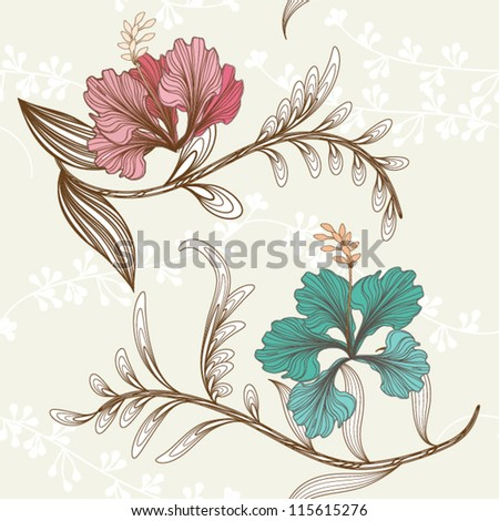 Floral seamless pattern with leaves, EPS10 Vector background - stock vector
