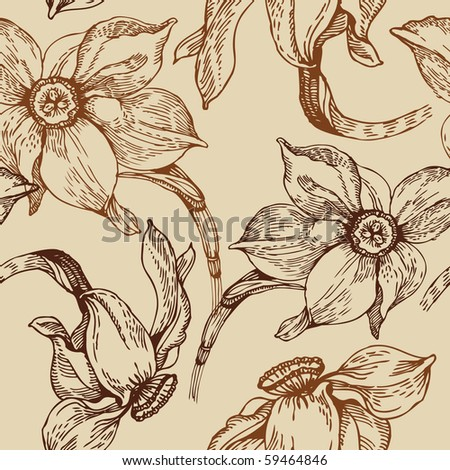 Floral seamless pattern with narcissus - stock vector