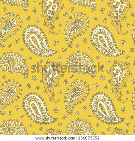 Floral seamless pattern with paisley ornament - stock vector