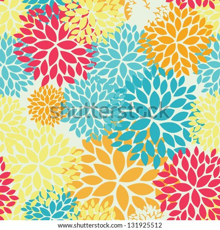 Floral seamless pattern with pink, blue, yellow and orange colours