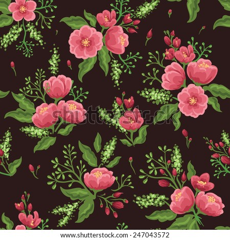 Floral seamless pattern with pink flowers and green leaves. - stock vector