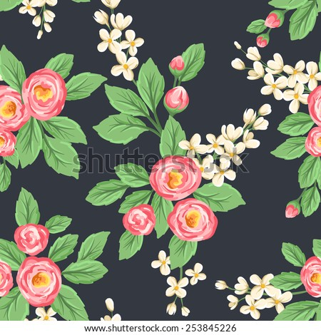 Floral seamless pattern with pink roses and small white flowers on dark grey background. - stock vector