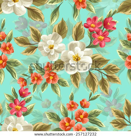Floral seamless pattern with pink, white and red flowers and leaves on blue background. - stock vector