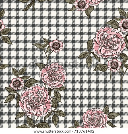 Floral seamless pattern with plaid background. Vector template.