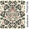 floral seamless pattern with red and black elements - stock