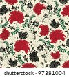 floral seamless pattern with red and black elements - stock photo