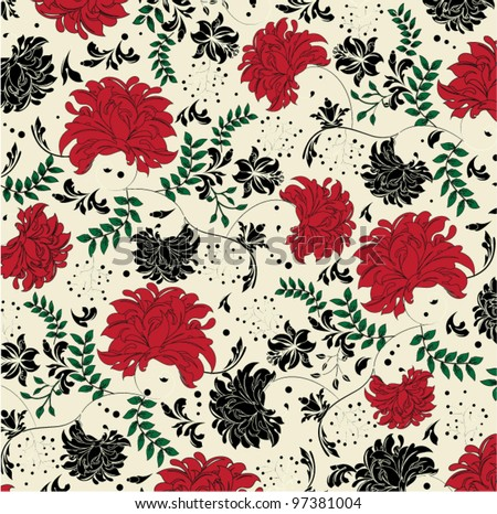 floral seamless pattern with red and black elements - stock vector