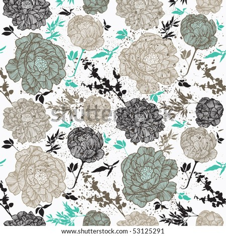 Floral seamless pattern with rose - stock vector