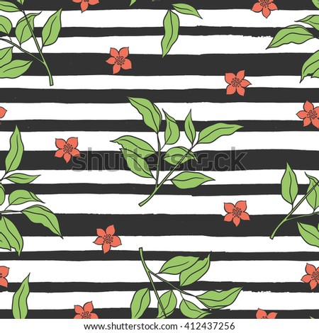 Floral seamless pattern with stripes, leaves and flowers. Hand drawn floral compositions. Boho style. Summer. Floral pattern for textile, packaging, greeting cards, invitations. Vector illustration. - stock vector