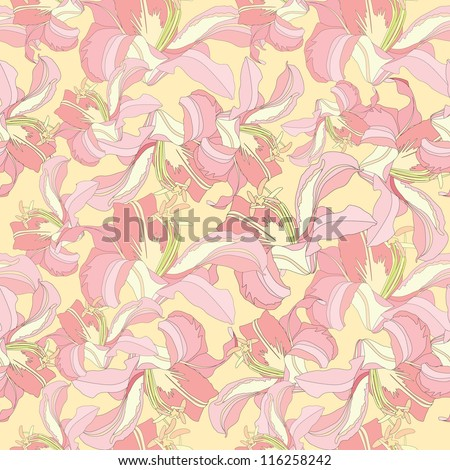 floral seamless pattern with white and pink flowers lily - stock vector