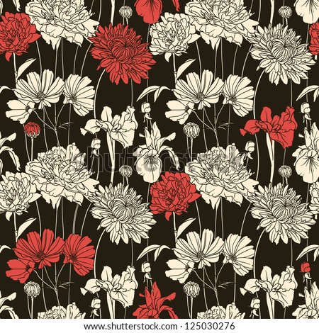 Floral seamless pattern with white and red flowers - stock vector