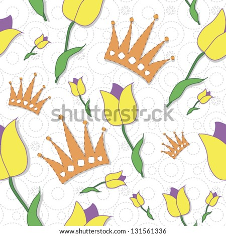 Floral seamless pattern with yellow tulips and crowns - stock vector