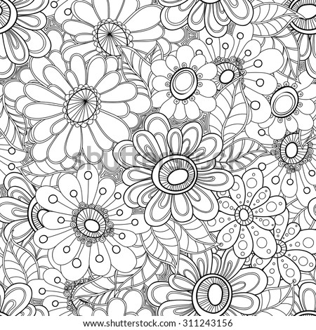 Floral seamless pattern. Zentangle doodle background. Black and white hand-drawn pattern. - stock vector