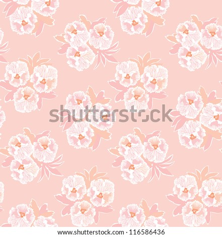 floral seamless vector background. Flowers heartsease bouquet pattern.