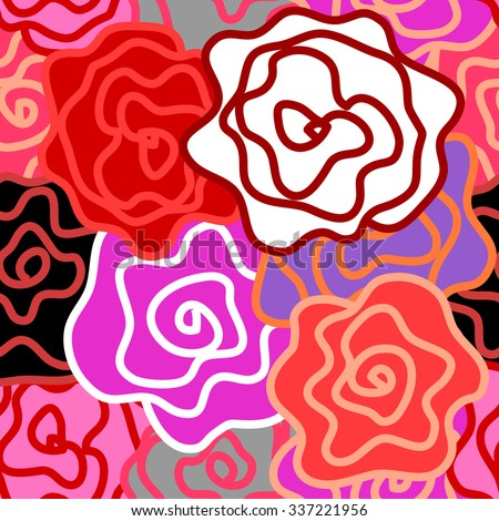 Floral seamless vector pattern. Colorful retro roses with bold contours. Art Nouveau style vintage textile collection. Pink, red, purple. Backgrounds & textures shop. - stock vector