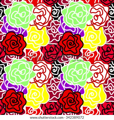 Floral seamless vector pattern. Colorful retro roses with bold contours. Art Nouveau style vintage textile collection. Red, green, yellow. Backgrounds & textures shop. - stock vector