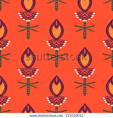 Floral seamless vector pattern with bold ornamental stylized paisley motifs and flowers. - stock vector
