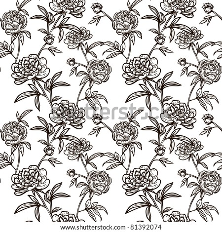 Floral seamless vector pattern with peonies for your design. - stock vector