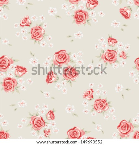 Floral seamless vintage pattern. Shabby chic background with rose and simple flower for you design and scrapbooking. - stock vector
