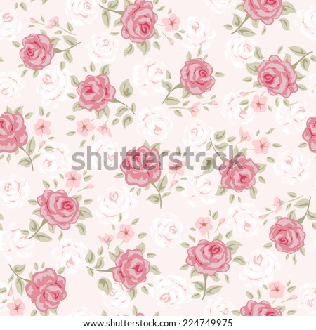 Floral Seamless Vintage Pattern Shabby Chic Rose Background