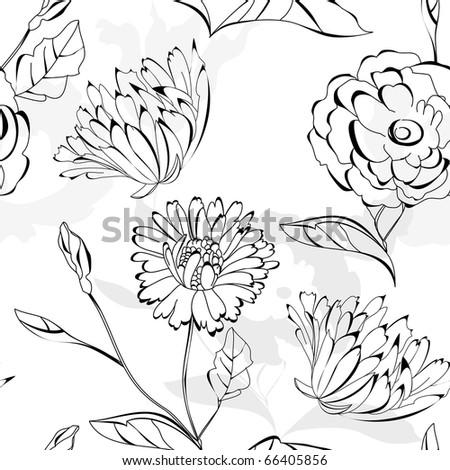 Floral seamless wallpaper - stock vector