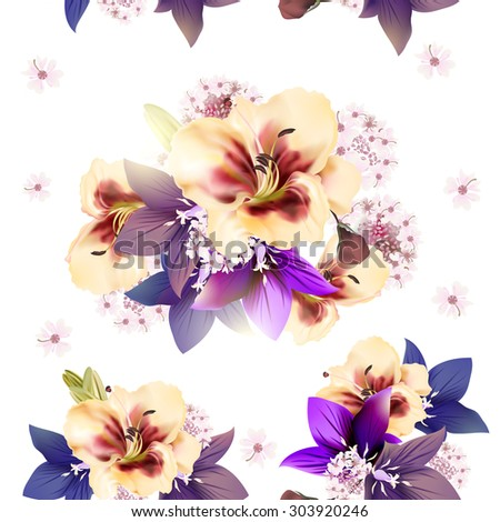 Floral seamless wallpaper pattern with blue bells and lily flowers - stock vector