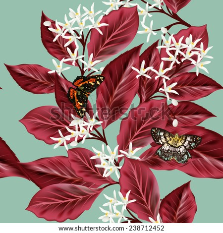 Floral seamless wallpaper pattern with flowers and red leafs - stock vector