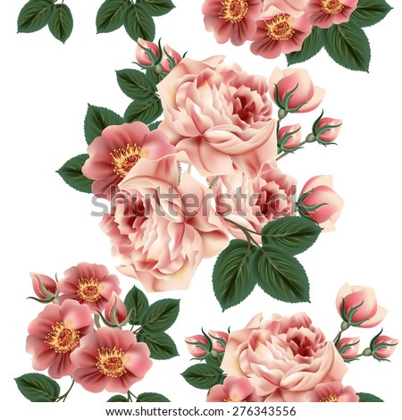 Floral seamless wallpaper pattern with roses in retro style - stock vector