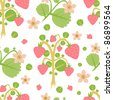 Floral seamless wallpaper with delicate bushes of strawberries - stock vector