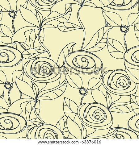 Floral seamless wallpaper with rose flowers - stock vector