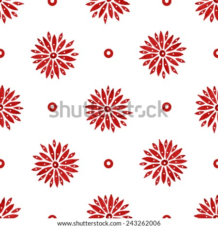 Floral seamless watercolor pattern, bright red flowers and small circles on a white background - stock vector