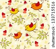 Floral seamless with birds. Vector illustration. - stock