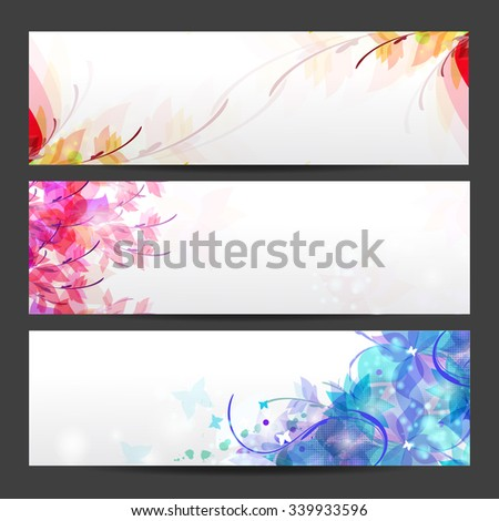 Floral seasons background banners, Card for congratulation - stock vector