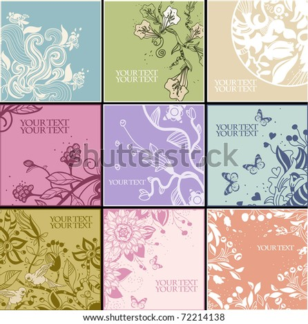 floral set of 9 hand drawn cards with fantasy flowers and plants - stock vector
