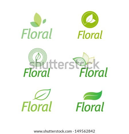 floral set of leaf green eco logos isolated - stock vector