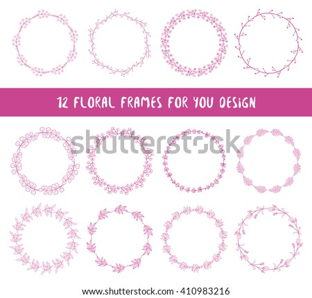 Floral set of 12 wreaths. Collection of floral frames. Hand drawn floral elements for your spring, summer design. Bohemian collection. Vector illustration. - stock vector