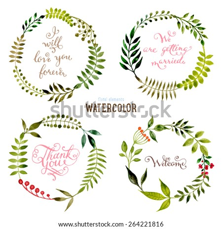 Floral Set with Watercolor Flowers for Summer or Spring Cards, Invitations, Flyers, Banners or Posters Design. Aquarelle Flowers, Wreath and Leaves Collection for Greeting and Wedding Cards. - stock vector