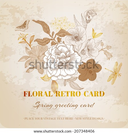 Floral Shabby Chic Card - vintage design - in vector - stock vector