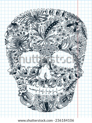 Floral shape skull - stock vector