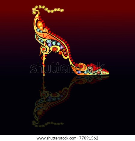 floral shoe reflection - stock vector