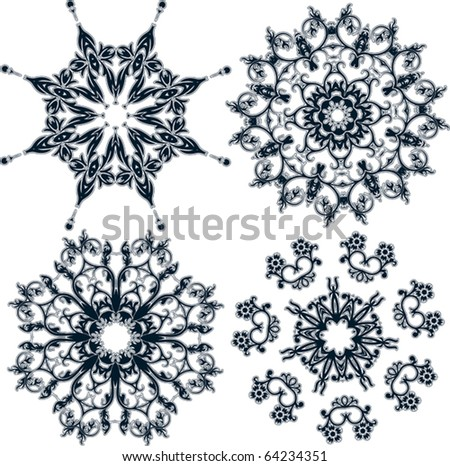 Floral snowflakes, set, element for design, vector illustration - stock vector